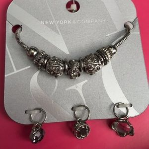 NWT Silver Bracelet With 3 Extra Charms